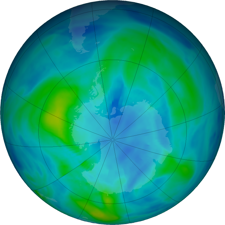 Antarctic ozone map for 08 April 2019
